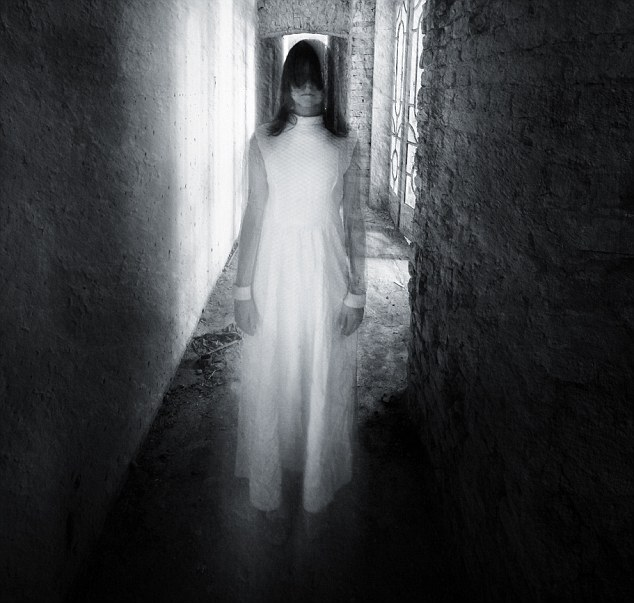 Horror movie scene with a girl dressed in white in a desolated house; Shutterstock ID 149780201; PO: 1259; Job: ghosts